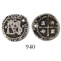 Potosi, Bolivia, cob 1/2 real, Philip II, assayer R (Ramos) to left, mintmark P to right, tiny lette