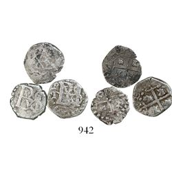 Lot of 3 Potosi, Bolivia, cob 1/2R, Philip III and IV, assayer T or not visible.