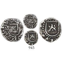 Potosi, Bolivia, cob 1/4 real, Philip II, assayer B to left of castle (5th period), mintmark P to ri