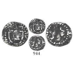 Potosi, Bolivia, cob 1/4 real, Philip III, no assayer, very rare.