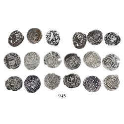 Large lot of 9 Potosi, Bolivia, cob 1/4R, Philip II and III, various assayers (where visible), gener