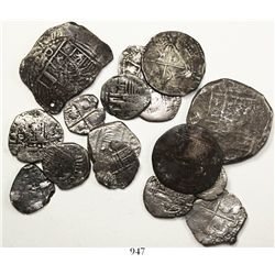 Lot of 16 Potosi, Bolivia, shield-type cobs (two 8R, five 2R, eight 1R and one 1/2R), various period
