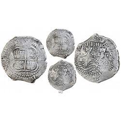 Potosi, Bolivia, cob 8 reales, 1652E post-transitional (transitional Type VIII/B), 1-PH-6 at top.