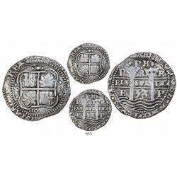 Potosi, Bolivia, cob 8 reales Royal, 1653E, dot-PH-dot at top.