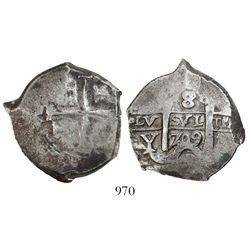 Potosi, Bolivia, cob 8 reales, 1709Y.