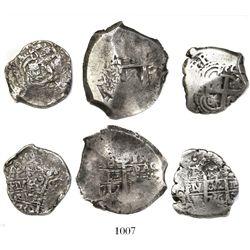 Lot of 3 Potosi, Bolivia, cobs of Philip V: 8R 1717Y; 4R 1736E; 4R 1739M.