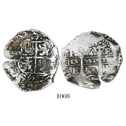 Potosi, Bolivia, cob 4 reales, 1653E, dot-PH-dot at top.