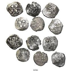 Lot of 6 Potosi, Bolivia, cob 2 reales, Philip IV and Charles II, dates as follows: 1659E, 1670E, 16