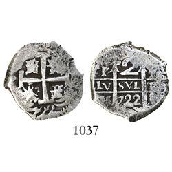 Potosi, Bolivia, cob 2 reales, 1722Y.