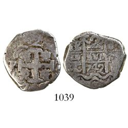 Potosi, Bolivia, cob 2 reales, 1742C/P, rare.