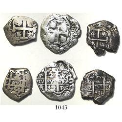 Lot of 3 Potosi, Bolivia, cob 2 reales, various dates (1692VR, 1736E and 1759q).