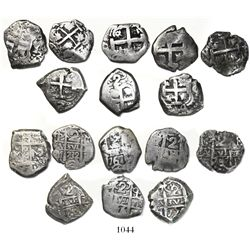 Lot of 8 Potosi, Bolivia, cob 2 reales, Philip V to Charles III, various dates and assayers (1732M,