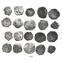 Lot of 10 Potosi, Bolivia, cob 2 reales, pillars-and-waves, various dates and assayers (all kings re