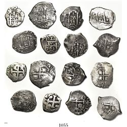 Lot of 8 Potosi, Bolivia, cob 1R, Philip IV to Charles III, various dates and assayers (1656E, 1667E