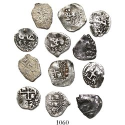 Lot of 6 Potosi, Bolivia, cob 1/2R, Philip IV, Charles II and Louis I, various dates (1661, 1663 [2]
