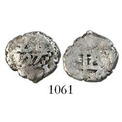 Potosi, Bolivia, cob 1/2 real, 1727, Louis I, scarce.