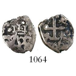 Potosi, Bolivia, cob 1/2 real, 1766, unique with king's ordinal III above monogram.