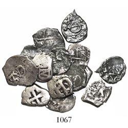 Lot of 15 Potosi, Bolivia, cob 1/2R, Charles II through Charles III, dates not visible.