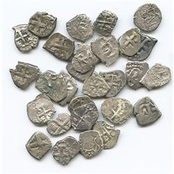 Lot of 28 Potosi, Bolivia, cob 1/2R, Philip IV to Charles III, various dates (where visible).