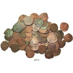 Large lot of 72 Santo Domingo, Dominican Republican, copper 4 maravedis, Charles-Joanna, assayer F o
