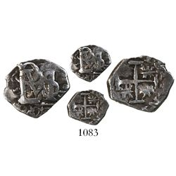 Bogota, Colombia, cob 1/2 real, Philip IV, no assayer, quadrants of cross transposed and lions rotat