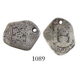 Guatemala, cob 1 real, 1733J, rare.