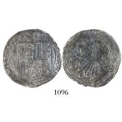 Seville, Spain, 2 reales, Ferdinand-Isabel, assayer Gothic D on reverse, mintmark S to right.