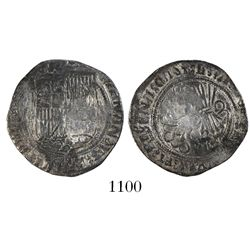 Seville, Spain, 1 real, Ferdinand-Isabel, mintmark S on reverse, + flanking shield.