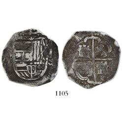 Toledo, Spain, cob 4 reales, (15)95 date to right, assayer C to left.