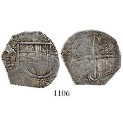 Seville, Spain, cob 2 reales, 1590 date to right, assayer Gothic D below denomination and mintmark t