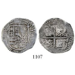 Toledo, Spain, cob 2 reales, 1593 date to right, assayer not visible (C ) below mintmark oT to left.