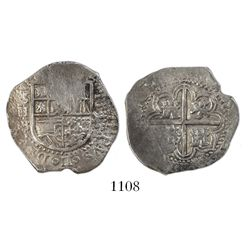 Seville, Spain, cob 2 reales, 1595 date to right, assayer B below denomination and mintmark to left.