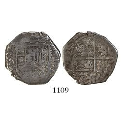 Seville, Spain, cob 2 reales, 1597 date to right, assayer V below denomination and mintmark to left,