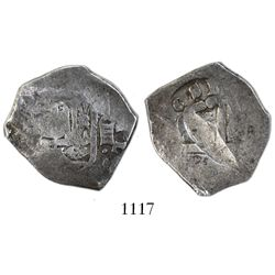 Seville, Spain, cob 4 reales, 1681, assayer not visible, S for 8 in date, extremely rare (unlisted t