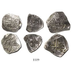 Lot of 3 Spain (various mints) cob 4 reales (1) and 2 reales (2), Philip II through IV.