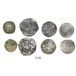 Lot of 4 Spanish cob/milled minors: 2R Seville Philip II; 1R Seville Ferdinand-Isabel assayer Gothic
