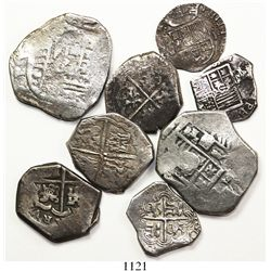Lot of 8 Spain cobs, various denominations (two 8R, three 4R, two 2R and one 1R) and mints and perio