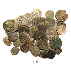 Large lot of 55 Spanish copper cobs (8, 4 and 2 maravedis) and earlier copper coins (2), various min