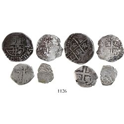 Mixed lot of 4 Spanish colonial silver-cob minors: 2R, Potosi, Philip IV (shield-type); 1R, Lima, 16