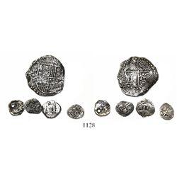 Mixed lot of 5 miscellaneous silver cobs: Potosi 8R 1620?T; Potosi 1/2R Philip IV no assayer (2); Po