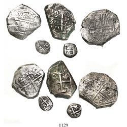 Mixed lot of 5 silver cobs of Spain and the Spanish colonies, various periods, all clipped and/or cu