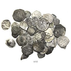 Large, mixed lot of 64 small cobs (2R, 1R and 1/2R, plus one copper 4M) of Mexico, Lima, Potosi and