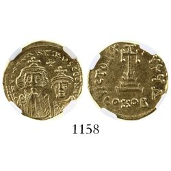 Byzantine Empire, AV solidus, Constans II and Constantine IV, 654-668 AD, encapsulated NGC Ch AU str