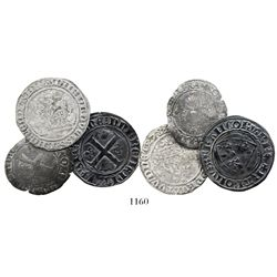 Lot of 3 miscellaneous French / southern Netherlands silver /billon medieval minors, 1300s-1500s.