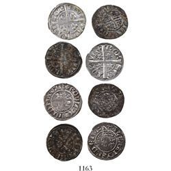 Lot of 4 medieval silver pennies of England, France and Scotland, 1200s to 1300s.