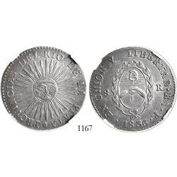 Argentina (La Rioja mint), 8 reales, 1836P, encapsulated NGC AU 50.