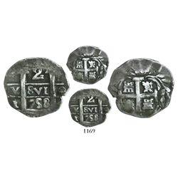 "Tucuman, Argentina, ""imitation cob"" 2 reales, date ""758"" (struck 1820-24), very rare."