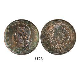 Argentina, copper 2 centavos, 1887, rare.