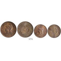 Lot of 2 Argentina copper 2 centavos (1890) and 1 centavo (1894).