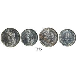Lot of 2 Argentina copper-nickel 20 centavos (1921) and 10 centavos (1912).